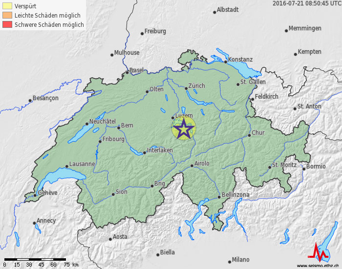 Small Earthquakes in Central Switzerland