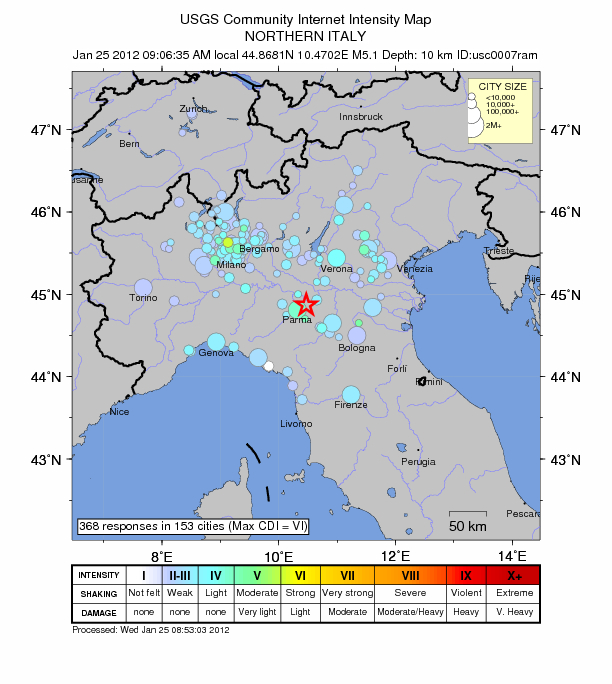 Earthquake in northern Italy