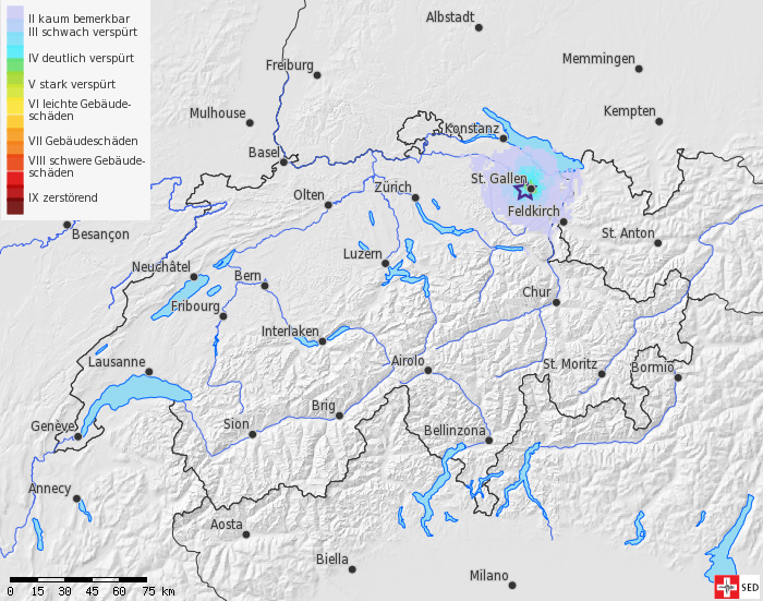 Earthquake at geothermal drilling site in St. Gallen