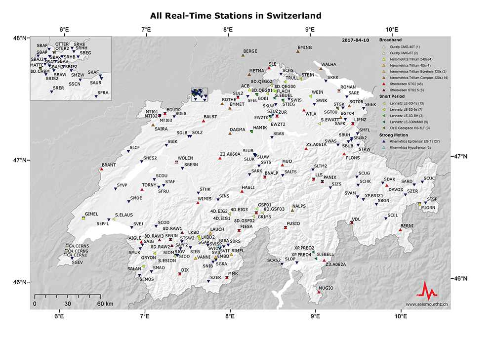 All real-time stations in Switzerland