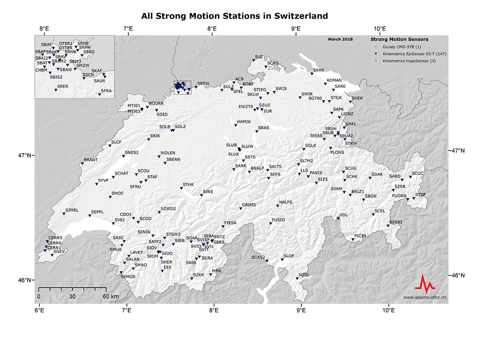 All strong motion stations in Swizerland