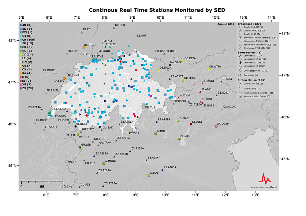 Stations en temps réel en Europe