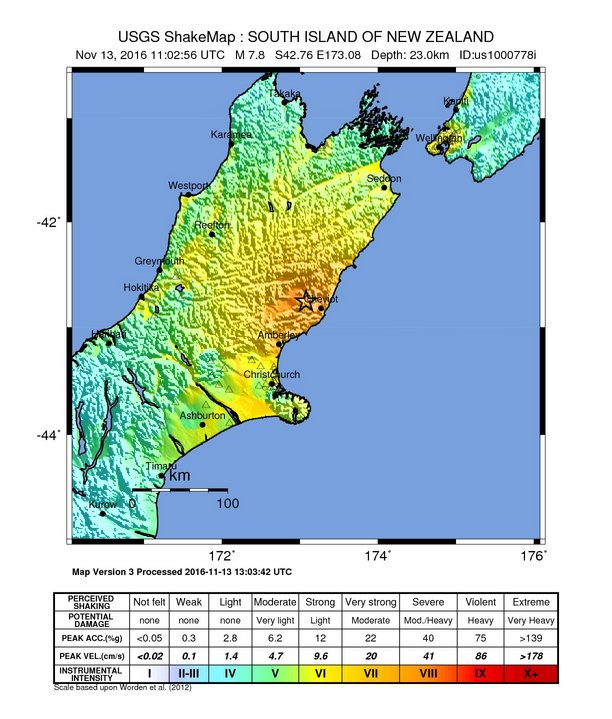 Major earthquake occurs in New-Zealand
