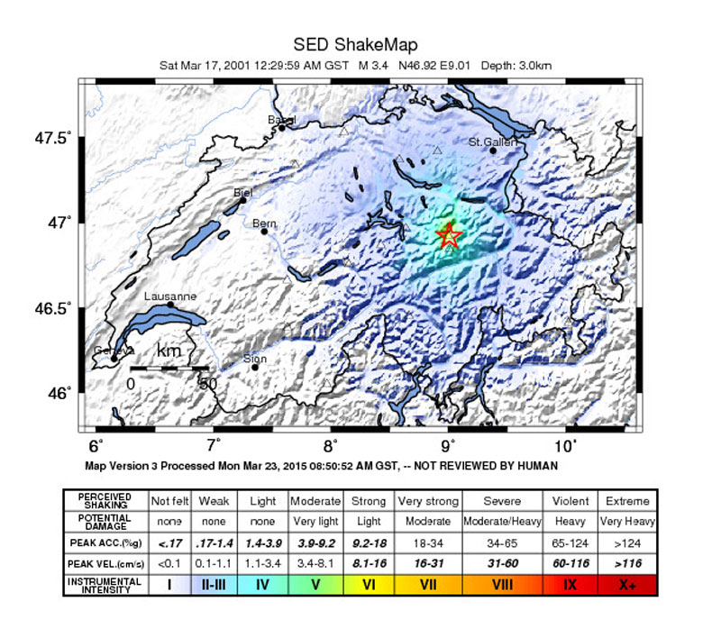 ShakeMap of the magnitude 3.4 earthquake that occurred in Linthal on 17 March 2001