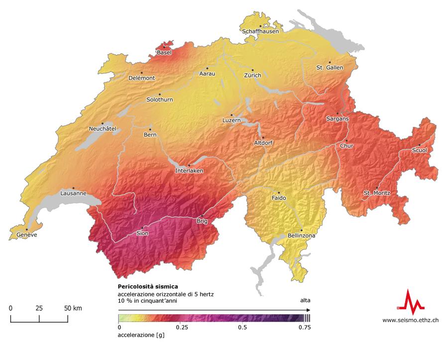 Cartina Canton Ticino Svizzera.Sed Pericolosita Sismica Svizzera