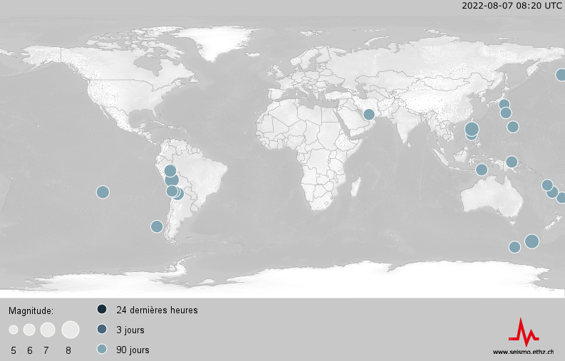 World Map of earthquakes of the last 90 days, magnitude 6 or above