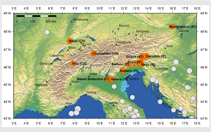The largest earthquakes in the Alps